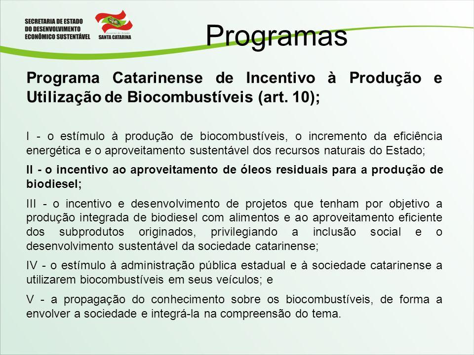 Programas Programa Catarinense de Incentivo à Produção e Utilização de Biocombustíveis (art. 10); I - o estímulo à produção de biocombustíveis, o incr
