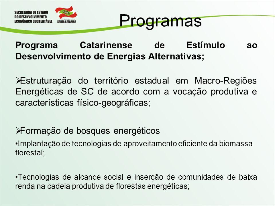 Programas Programa Catarinense de Estímulo ao Desenvolvimento de Energias Alternativas; Estruturação do território estadual em Macro-Regiões Energétic