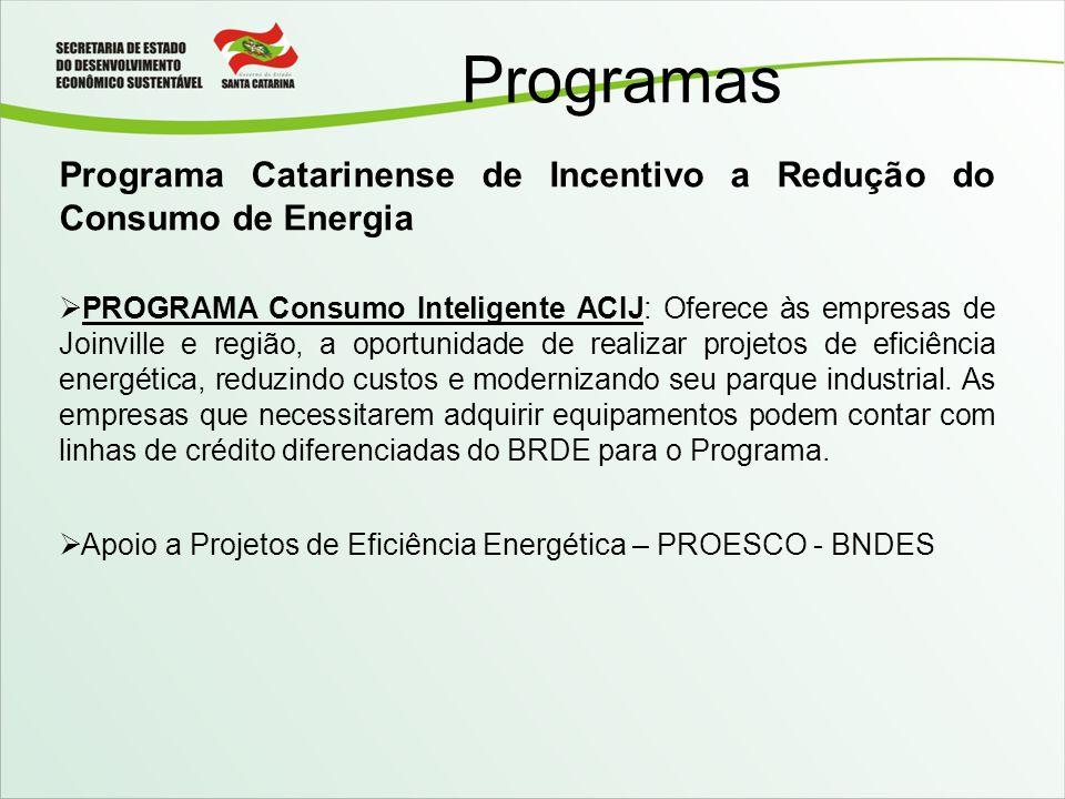 Programas Programa Catarinense de Incentivo a Redução do Consumo de Energia PROGRAMA Consumo Inteligente ACIJ: Oferece às empresas de Joinville e regi
