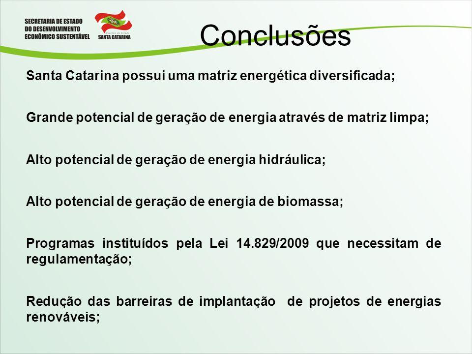 Conclusões Santa Catarina possui uma matriz energética diversificada; Grande potencial de geração de energia através de matriz limpa; Alto potencial d