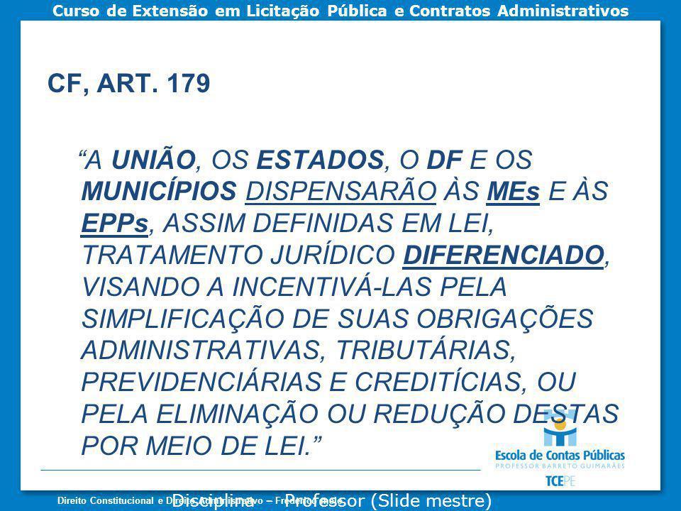 Disciplina - Professor (Slide mestre) Curso de Extensão em Licitação Pública e Contratos Administrativos Direito Constitucional e Direito Administrativo – Frederico melo CF, ART.