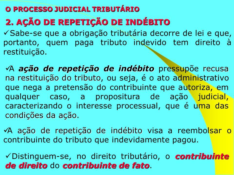 O PROCESSO JUDICIAL TRIBUTÁRIO Sabe-se que a obrigação tributária decorre de lei e que, portanto, quem paga tributo indevido tem direito à restituição