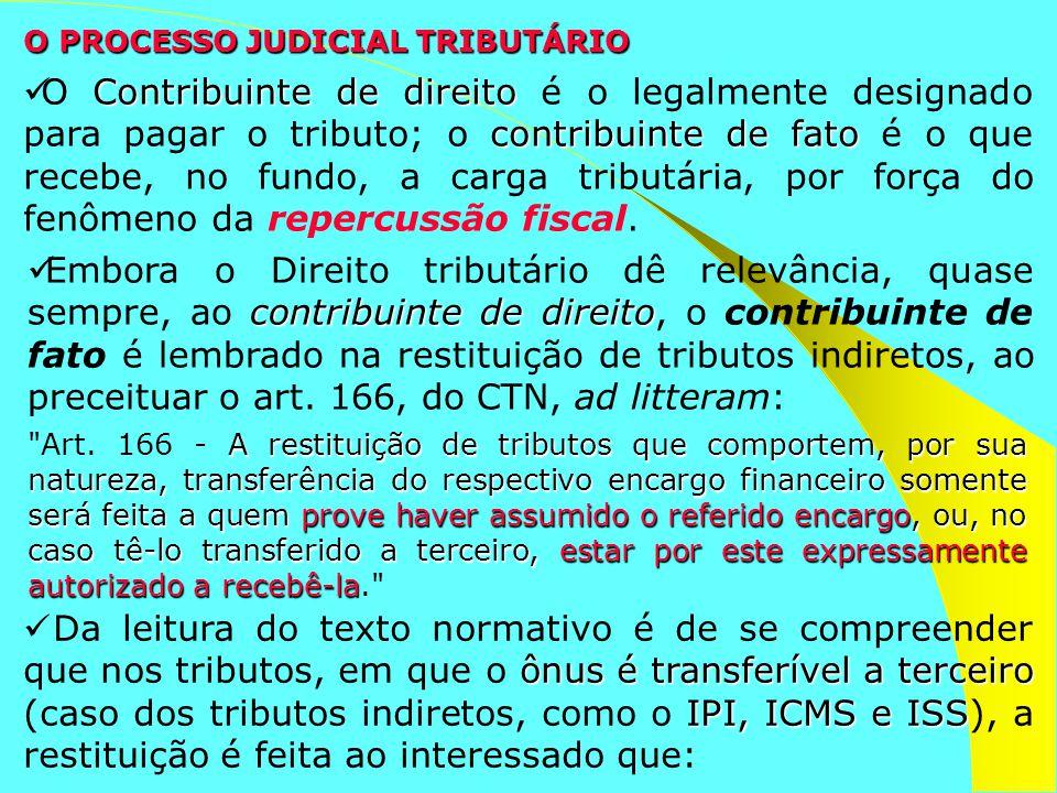 O PROCESSO JUDICIAL TRIBUTÁRIO contribuinte de direito Embora o Direito tributário dê relevância, quase sempre, ao contribuinte de direito, o contribu