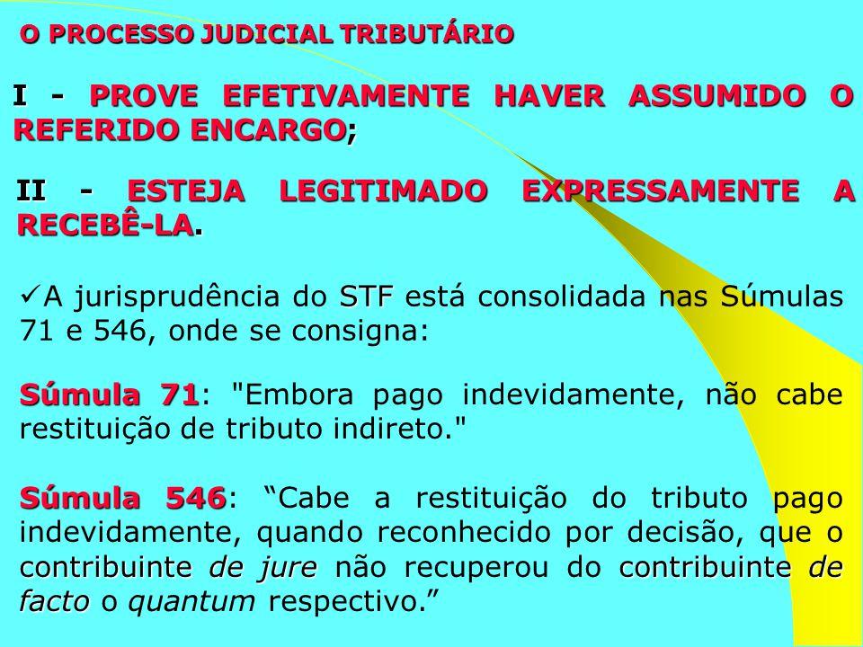 O PROCESSO JUDICIAL TRIBUTÁRIO I - PROVE EFETIVAMENTE HAVER ASSUMIDO O REFERIDO ENCARGO; II - ESTEJA LEGITIMADO EXPRESSAMENTE A RECEBÊ-LA. Súmula 71 S