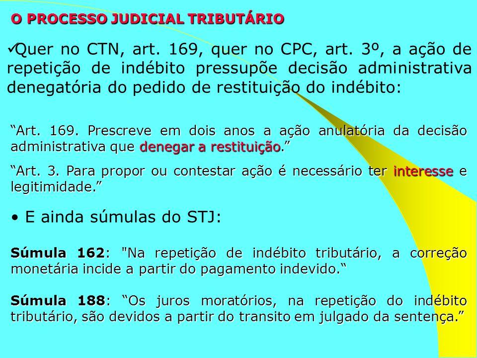 Quer no CTN, art. 169, quer no CPC, art. 3º, a ação de repetição de indébito pressupõe decisão administrativa denegatória do pedido de restituição do