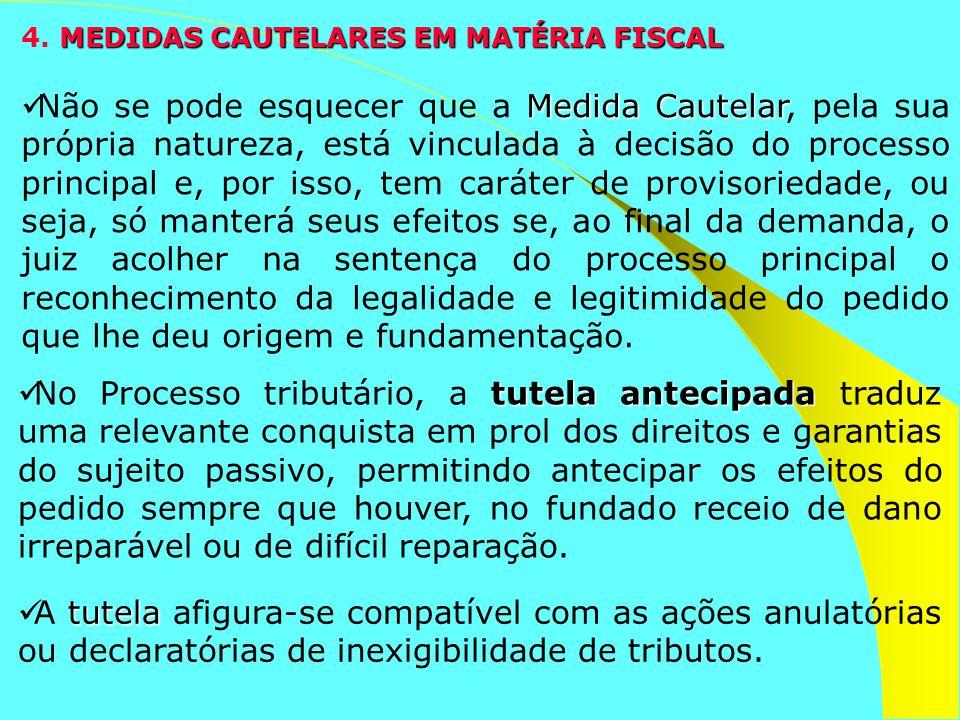 MEDIDAS CAUTELARES EM MATÉRIA FISCAL 4. MEDIDAS CAUTELARES EM MATÉRIA FISCAL Medida Cautelar Não se pode esquecer que a Medida Cautelar, pela sua próp