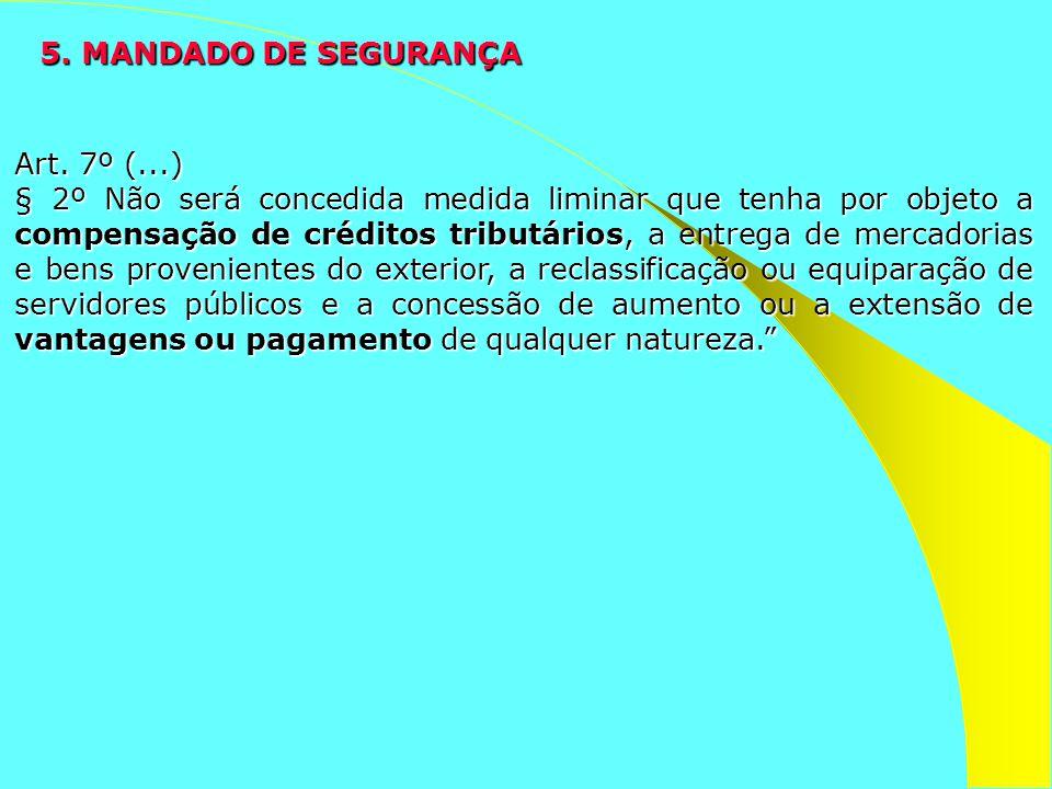 5. MANDADO DE SEGURANÇA Art. 7º (...) § 2º Não será concedida medida liminar que tenha por objeto a compensação de créditos tributários, a entrega de