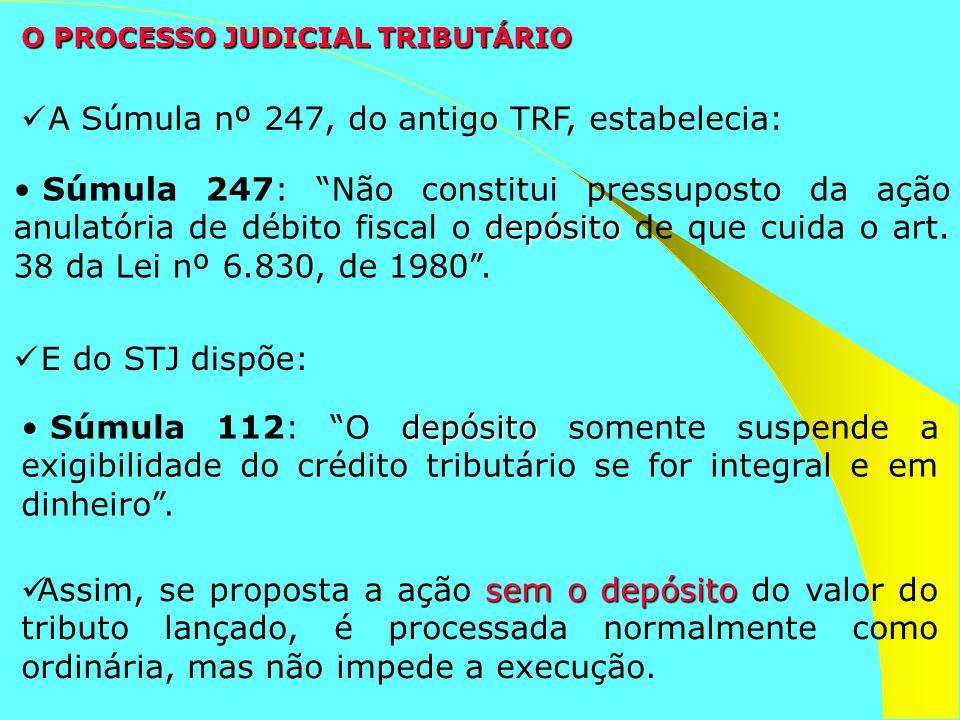 O PROCESSO JUDICIAL TRIBUTÁRIO depósito Súmula 247: Não constitui pressuposto da ação anulatória de débito fiscal o depósito de que cuida o art. 38 da