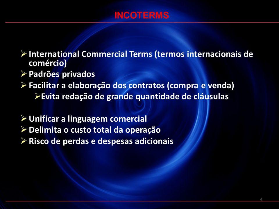 4 International Commercial Terms (termos internacionais de comércio) Padrões privados Facilitar a elaboração dos contratos (compra e venda) Evita reda