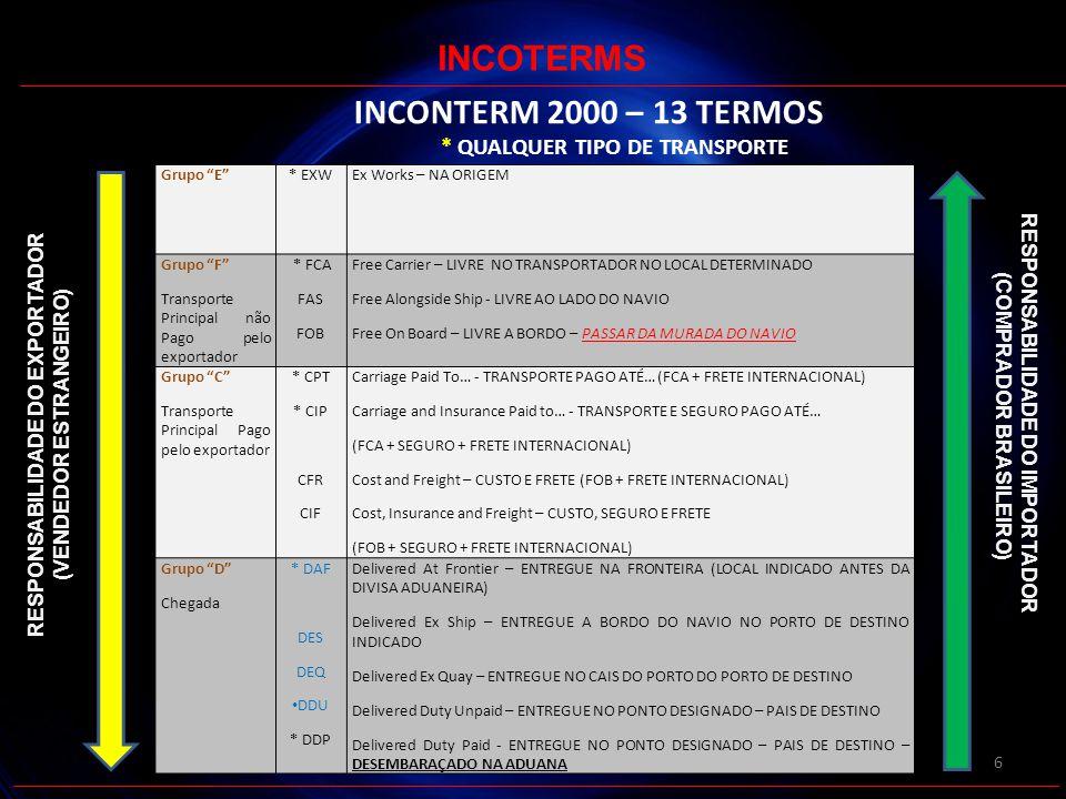 7 INCONTERM 2010 – 11 TERMOS * QUALQUER TIPO DE TRANSPORTE INCOTERMS GRUPOINCOTERMS 2010 E* EXW - EX-WORK - NA ORIGEM F * FCA - FREE CARRIER - LIVRE NO TRANSPORTADOR NO LOCAL DETERMINADO FAS - FREE ALONG SIDE SHIP - LIVRE AO LADO DO NAVIO FOB - FREE ON BOARD – LIVRE A BORDO – TEM QUE ESTAR NO CONVÉS DO NAVIO C CPT - Carriage Paid To… - TRANSPORTE PAGO ATÉ… (FCA + FRETE INTERNACIONAL) * CIP - Carriage and Insurance Paid to… - TRANSPORTE E SEGURO PAGO ATÉ… (FCA + SEGURO + FRETE INTERNACIONAL) CFR - Cost and Freight – CUSTO E FRETE (FOB + FRETE INTERNACIONAL) CIF - Cost, Insurance and Freight – CUSTO, SEGURO E FRETE.