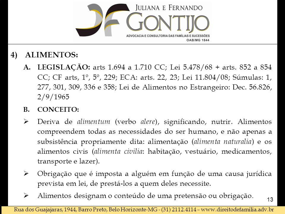 Rua dos Guajajaras, 1944, Barro Preto, Belo Horizonte-MG - (31) 2112.4114 – www.direitodefamilia.adv.br 4)ALIMENTOS: A.LEGISLAÇÃO: arts 1.694 a 1.710 CC; Lei 5.478/68 + arts.