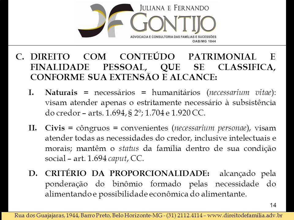 Rua dos Guajajaras, 1944, Barro Preto, Belo Horizonte-MG - (31) 2112.4114 – www.direitodefamilia.adv.br C.DIREITO COM CONTEÚDO PATRIMONIAL E FINALIDADE PESSOAL, QUE SE CLASSIFICA, CONFORME SUA EXTENSÃO E ALCANCE: I.Naturais = necessários = humanitários ( necessarium vitae ): visam atender apenas o estritamente necessário à subsistência do credor – arts.