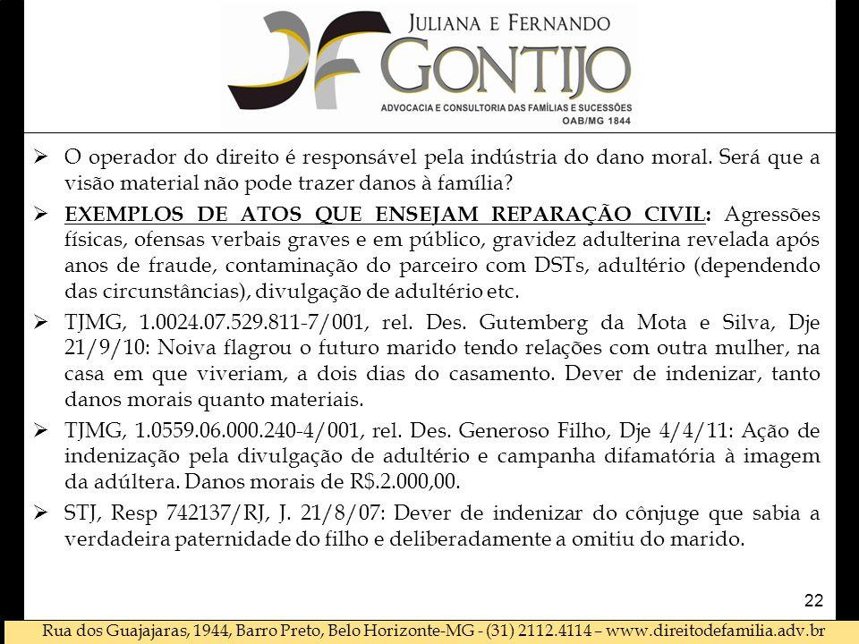 Rua dos Guajajaras, 1944, Barro Preto, Belo Horizonte-MG - (31) 2112.4114 – www.direitodefamilia.adv.br O operador do direito é responsável pela indústria do dano moral.