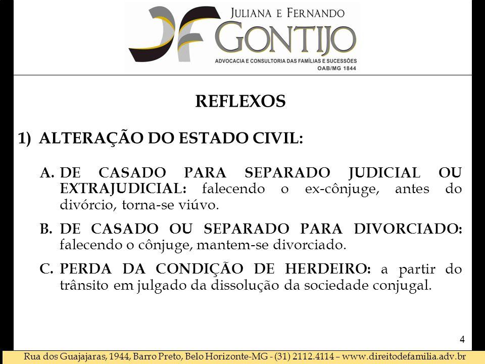 Rua dos Guajajaras, 1944, Barro Preto, Belo Horizonte-MG - (31) 2112.4114 – www.direitodefamilia.adv.br REFLEXOS 1)ALTERAÇÃO DO ESTADO CIVIL: A.DE CASADO PARA SEPARADO JUDICIAL OU EXTRAJUDICIAL: falecendo o ex-cônjuge, antes do divórcio, torna-se viúvo.