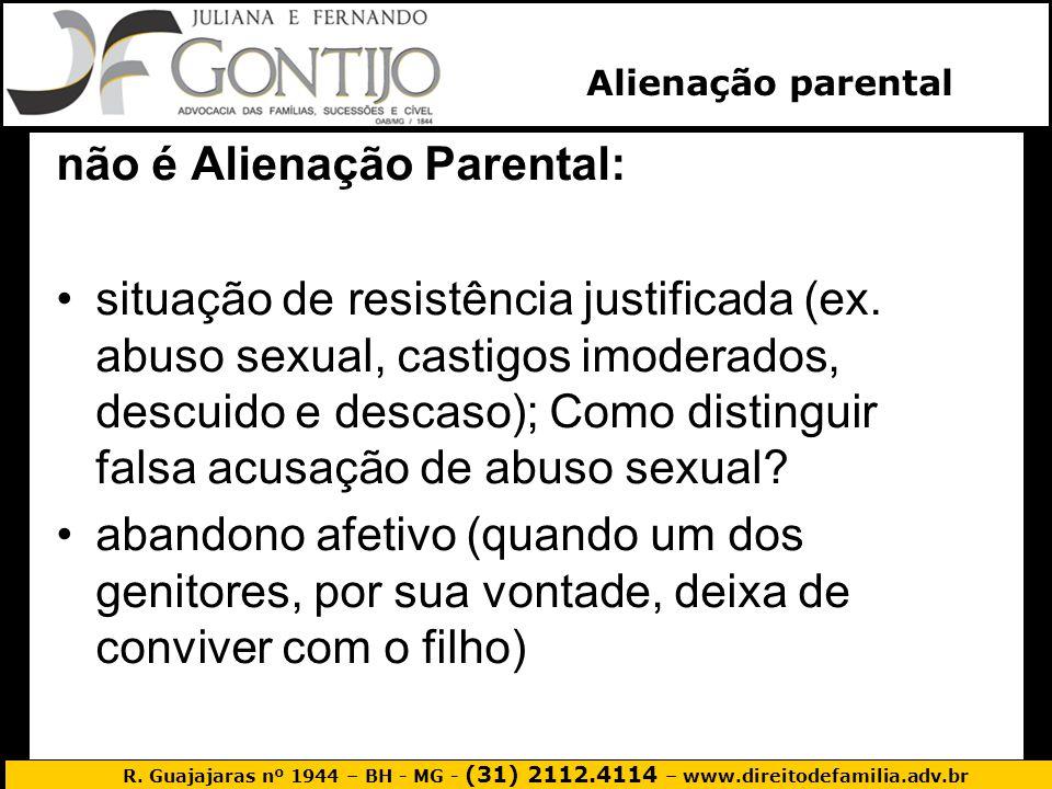 R. Guajajaras nº 1944 – BH - MG - (31) 2112.4114 – www.direitodefamilia.adv.br Alienação parental não é Alienação Parental: situação de resistência ju