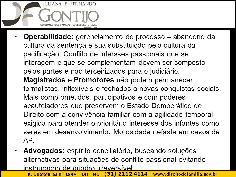 R. Guajajaras nº 1944 – BH - MG - (31) 2112.4114 – www.direitodefamilia.adv.br Operabilidade: gerenciamento do processo – abandono da cultura da sente