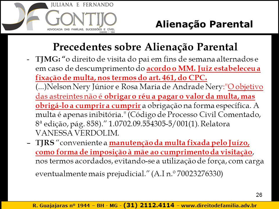 R. Guajajaras nº 1944 – BH - MG - (31) 2112.4114 – www.direitodefamilia.adv.br 26 Precedentes sobre Alienação Parental - TJMG: o direito de visita do