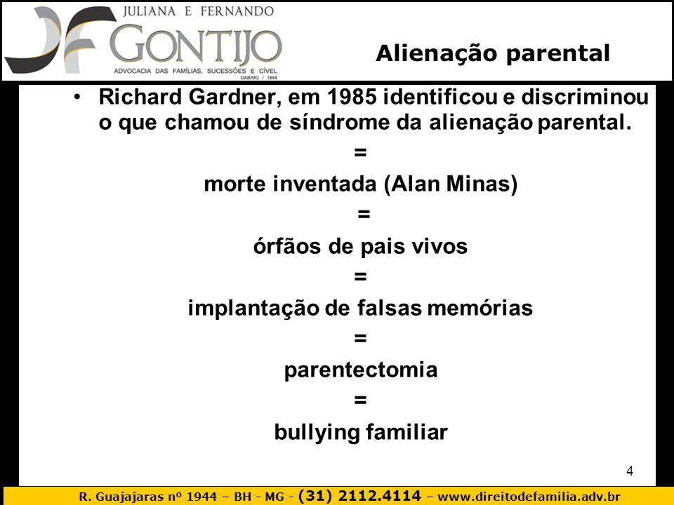 R. Guajajaras nº 1944 – BH - MG - (31) 2112.4114 – www.direitodefamilia.adv.br 4 Richard Gardner, em 1985 identificou e discriminou o que chamou de sí