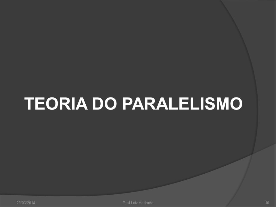 TEORIA DO PARALELISMO 25/03/201410Prof Luiz Andrade
