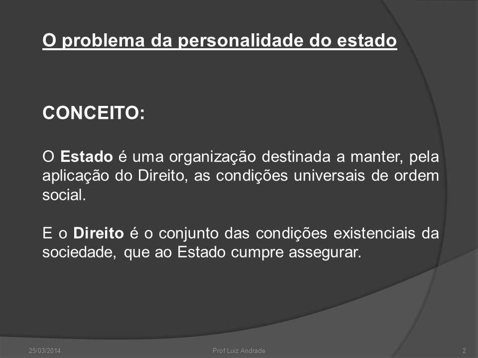 O problema da personalidade do estado CONCEITO: O Estado é uma organização destinada a manter, pela aplicação do Direito, as condições universais de ordem social.