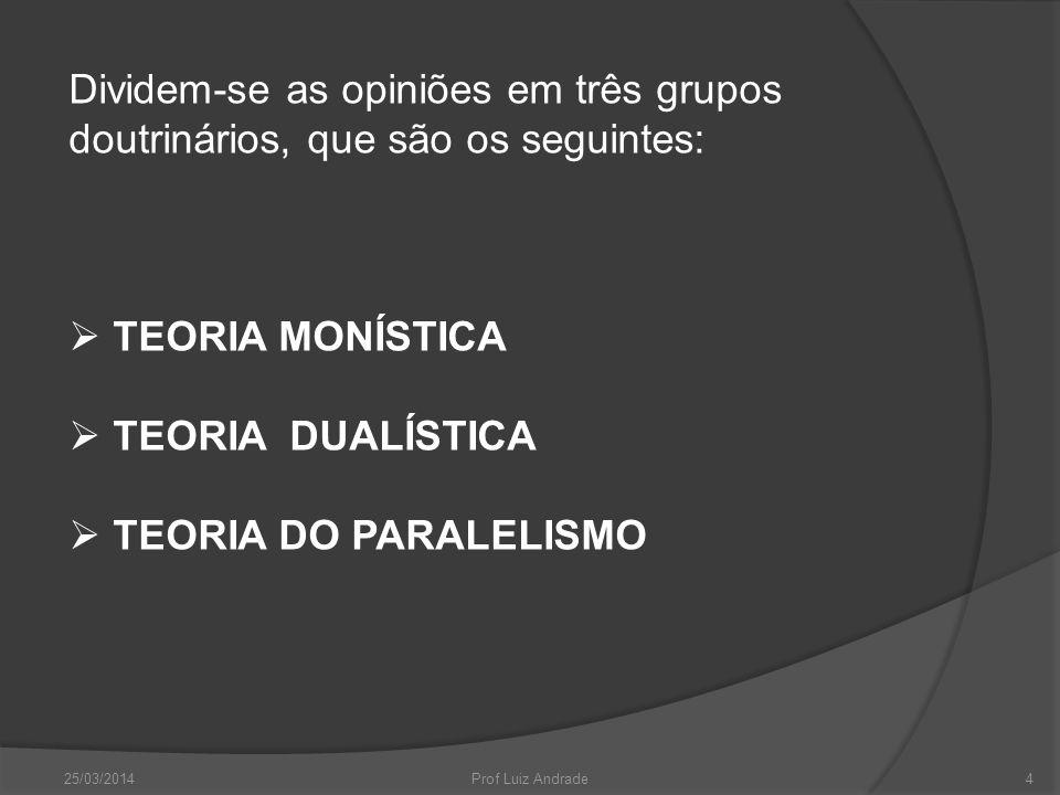 Dividem-se as opiniões em três grupos doutrinários, que são os seguintes: TEORIA MONÍSTICA TEORIA DUALÍSTICA TEORIA DO PARALELISMO 25/03/2014Prof Luiz Andrade4