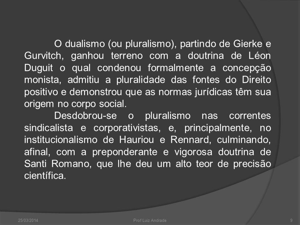 O dualismo (ou pluralismo), partindo de Gierke e Gurvitch, ganhou terreno com a doutrina de Léon Duguit o qual condenou formalmente a concepção monista, admitiu a pluralidade das fontes do Direito positivo e demonstrou que as normas jurídicas têm sua origem no corpo social.