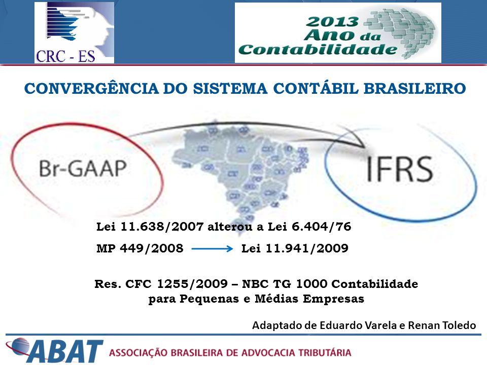 Adaptado de Eduardo Varela e Renan Toledo CONVERGÊNCIA DO SISTEMA CONTÁBIL BRASILEIRO Lei 11.638/2007 alterou a Lei 6.404/76 MP 449/2008 Lei 11.941/20