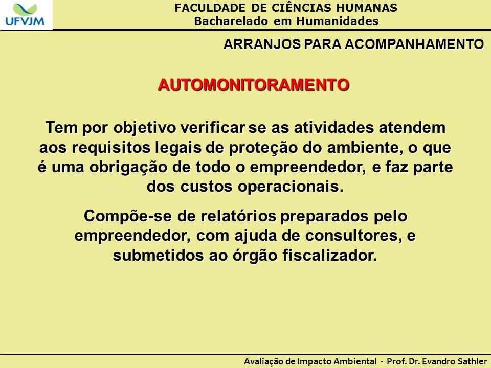 FACULDADE DE CIÊNCIAS HUMANAS Bacharelado em Humanidades Avaliação de Impacto Ambiental - Prof. Dr. Evandro Sathler ARRANJOS PARA ACOMPANHAMENTO AUTOM