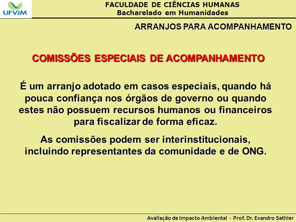 FACULDADE DE CIÊNCIAS HUMANAS Bacharelado em Humanidades Avaliação de Impacto Ambiental - Prof. Dr. Evandro Sathler ARRANJOS PARA ACOMPANHAMENTO COMIS