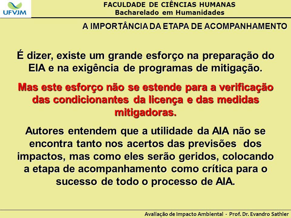 FACULDADE DE CIÊNCIAS HUMANAS Bacharelado em Humanidades Avaliação de Impacto Ambiental - Prof. Dr. Evandro Sathler A IMPORTÂNCIA DA ETAPA DE ACOMPANH