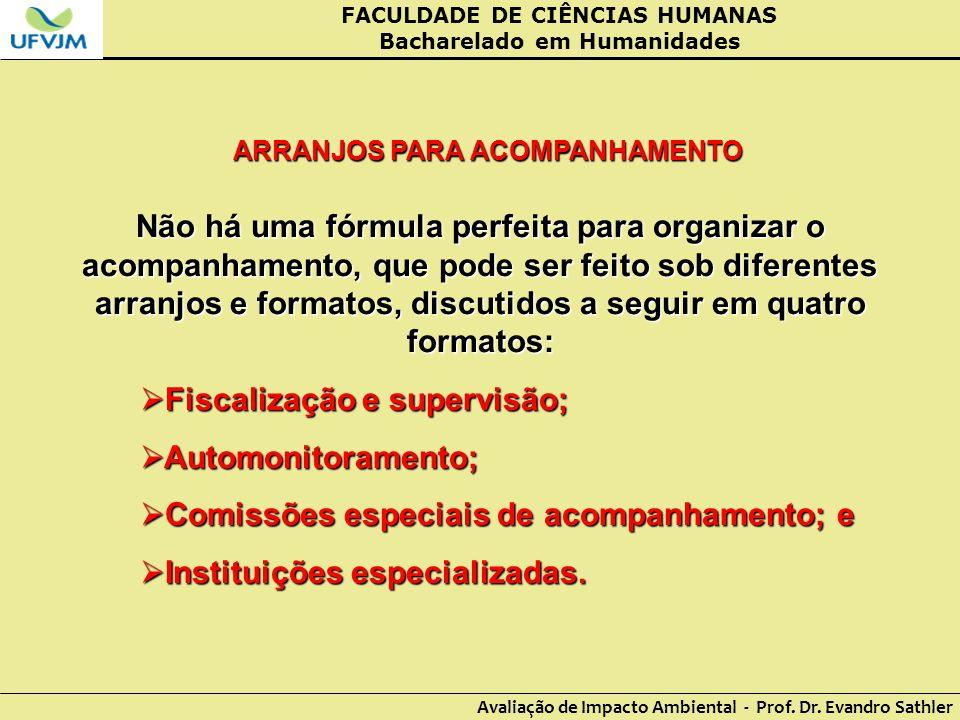 FACULDADE DE CIÊNCIAS HUMANAS Bacharelado em Humanidades Avaliação de Impacto Ambiental - Prof. Dr. Evandro Sathler ARRANJOS PARA ACOMPANHAMENTO Não h