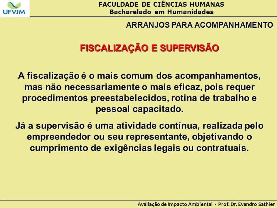 FACULDADE DE CIÊNCIAS HUMANAS Bacharelado em Humanidades Avaliação de Impacto Ambiental - Prof. Dr. Evandro Sathler ARRANJOS PARA ACOMPANHAMENTO FISCA