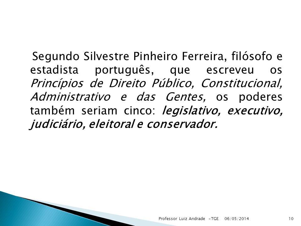 Segundo Silvestre Pinheiro Ferreira, filósofo e estadista português, que escreveu os Princípios de Direito Público, Constitucional, Administrativo e d