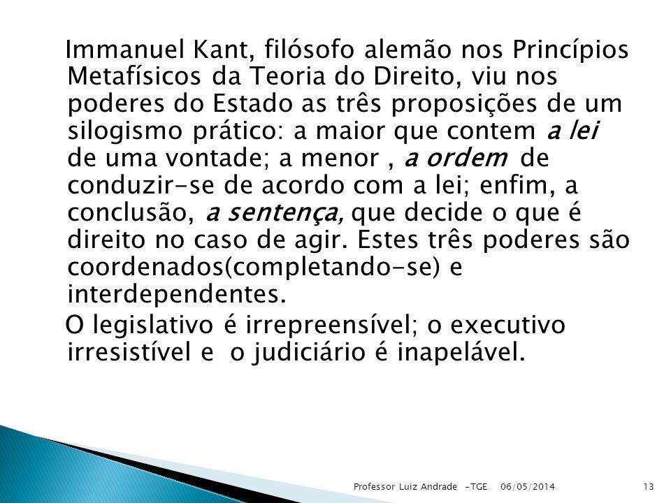 Immanuel Kant, filósofo alemão nos Princípios Metafísicos da Teoria do Direito, viu nos poderes do Estado as três proposições de um silogismo prático: a maior que contem a lei de uma vontade; a menor, a ordem de conduzir-se de acordo com a lei; enfim, a conclusão, a sentença, que decide o que é direito no caso de agir.