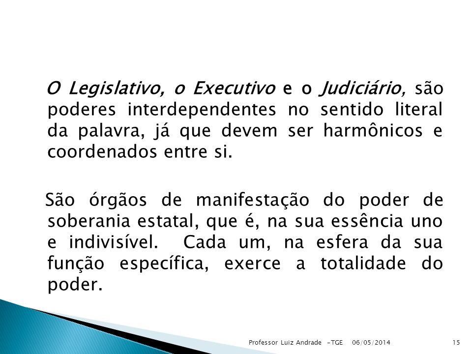 O Legislativo, o Executivo e o Judiciário, são poderes interdependentes no sentido literal da palavra, já que devem ser harmônicos e coordenados entre