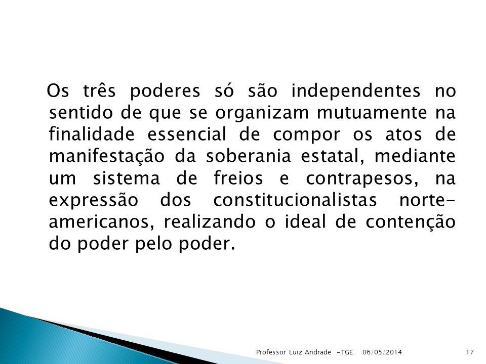 Os três poderes só são independentes no sentido de que se organizam mutuamente na finalidade essencial de compor os atos de manifestação da soberania