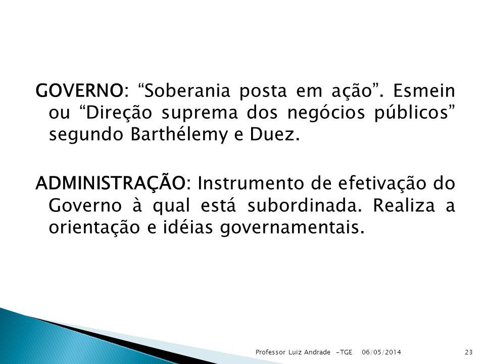 GOVERNO: Soberania posta em ação. Esmein ou Direção suprema dos negócios públicos segundo Barthélemy e Duez. ADMINISTRAÇÃO: Instrumento de efetivação