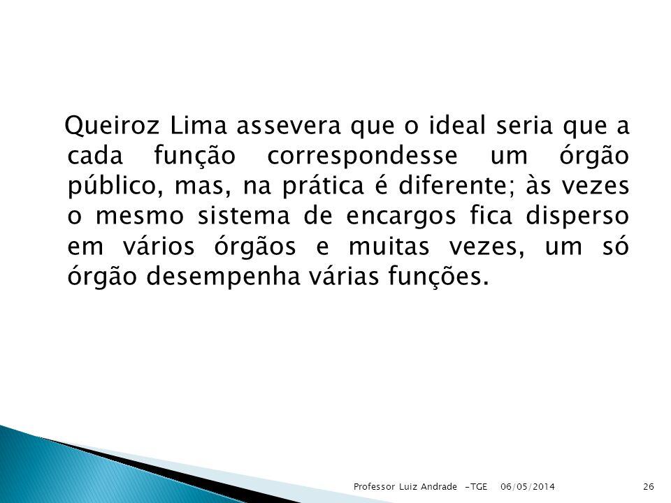 Queiroz Lima assevera que o ideal seria que a cada função correspondesse um órgão público, mas, na prática é diferente; às vezes o mesmo sistema de en