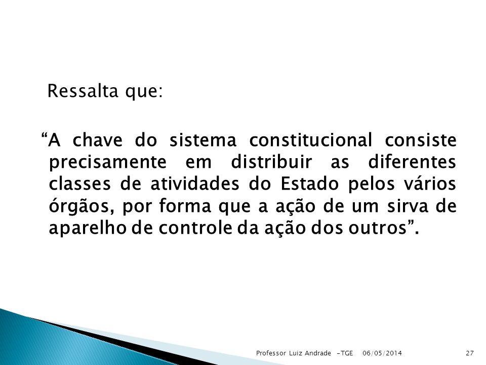 Ressalta que: A chave do sistema constitucional consiste precisamente em distribuir as diferentes classes de atividades do Estado pelos vários órgãos,