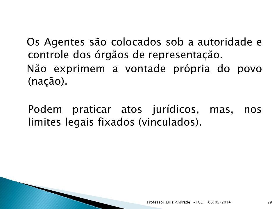 Os Agentes são colocados sob a autoridade e controle dos órgãos de representação.