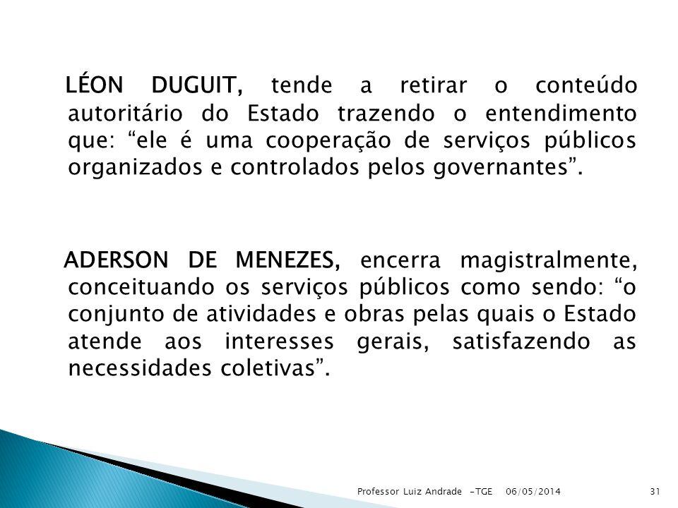 LÉON DUGUIT, tende a retirar o conteúdo autoritário do Estado trazendo o entendimento que: ele é uma cooperação de serviços públicos organizados e controlados pelos governantes.
