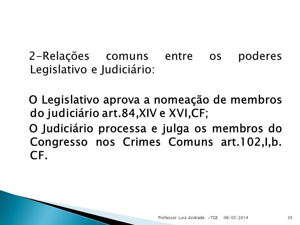 2-Relações comuns entre os poderes Legislativo e Judiciário: O Legislativo aprova a nomeação de membros do judiciário art.84,XIV e XVI,CF; O Judiciário processa e julga os membros do Congresso nos Crimes Comuns art.102,I,b.