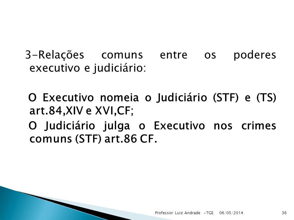 3-Relações comuns entre os poderes executivo e judiciário: O Executivo nomeia o Judiciário (STF) e (TS) art.84,XIV e XVI,CF; O Judiciário julga o Executivo nos crimes comuns (STF) art.86 CF.