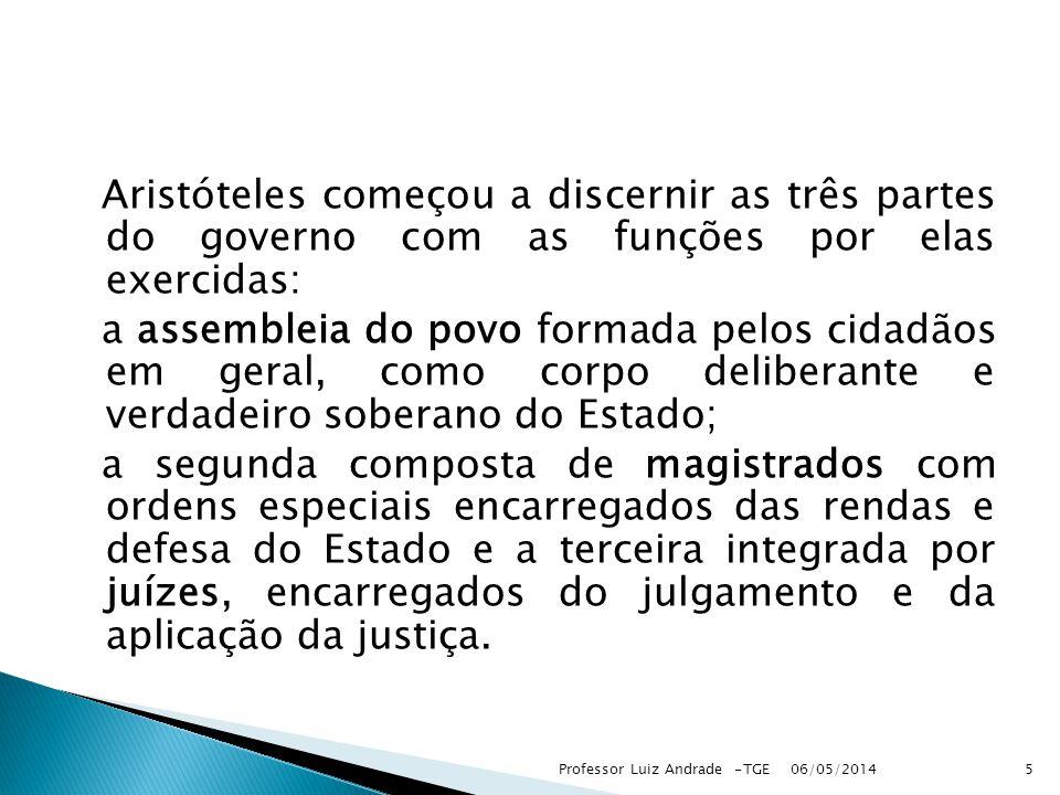 Aristóteles começou a discernir as três partes do governo com as funções por elas exercidas: a assembleia do povo formada pelos cidadãos em geral, com
