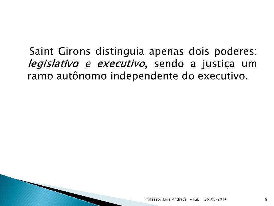 Saint Girons distinguia apenas dois poderes: legislativo e executivo, sendo a justiça um ramo autônomo independente do executivo. 06/05/2014 8Professo