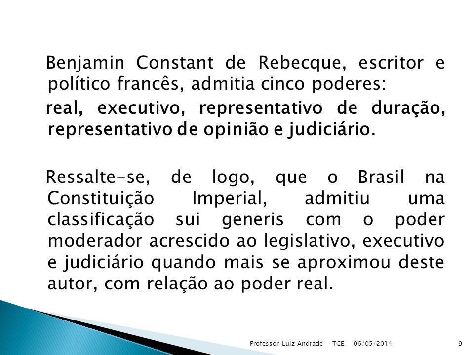 Benjamin Constant de Rebecque, escritor e político francês, admitia cinco poderes: real, executivo, representativo de duração, representativo de opinião e judiciário.