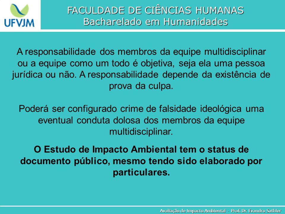 FACULDADE DE CIÊNCIAS HUMANAS Bacharelado em Humanidades Avaliação de Impacto Ambiental - Prof. Dr. Evandro Sathler A responsabilidade dos membros da