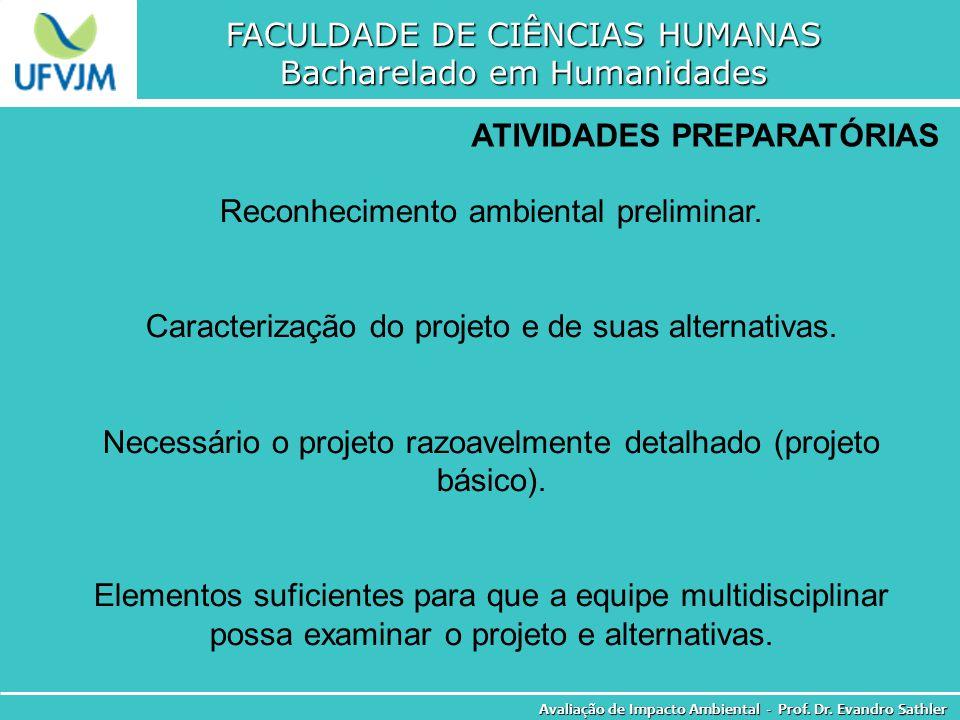FACULDADE DE CIÊNCIAS HUMANAS Bacharelado em Humanidades Avaliação de Impacto Ambiental - Prof. Dr. Evandro Sathler ATIVIDADES PREPARATÓRIAS Reconheci