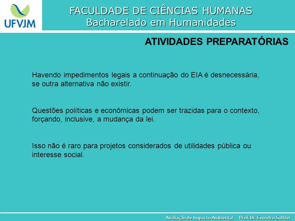 FACULDADE DE CIÊNCIAS HUMANAS Bacharelado em Humanidades Avaliação de Impacto Ambiental - Prof. Dr. Evandro Sathler ATIVIDADES PREPARATÓRIAS Havendo i
