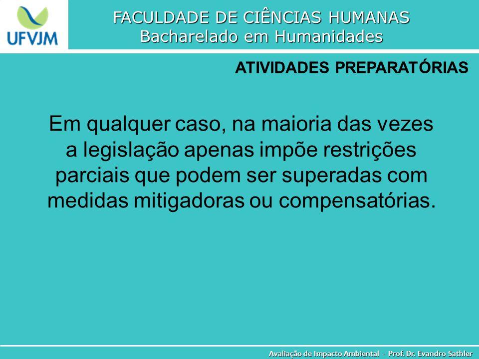FACULDADE DE CIÊNCIAS HUMANAS Bacharelado em Humanidades Avaliação de Impacto Ambiental - Prof. Dr. Evandro Sathler ATIVIDADES PREPARATÓRIAS Em qualqu
